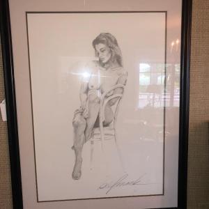 Photo of Bill Mack Signed Solitude Framed Sketch