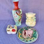 Lot 231cl Group 4 Pcs Antique Glass & Ceramics Vase Plate Souvenir Deco Ashtray