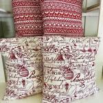 Lot 239 Merry Christmas 4 Pillows Red White HoHoHo