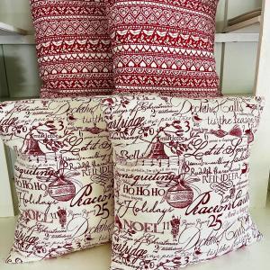 Photo of Lot 239 Merry Christmas 4 Pillows Red White HoHoHo