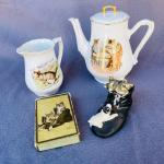 Lot 228cl Antique Cat Group Coffee Pot Creamer Playing Cards Transfer Ware Germa