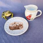 Lot 232cl Group 3 pcs ABC Plate + Girl Ironing Pitcher + Frog Figurine