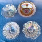 Lot 225cl Group 4 Iridescent Bowls Carnival Glass Pattern