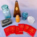 Lot 237cl Group Vintage Items Ball Canning Jar Glass Face Cup Pockets Books Meta