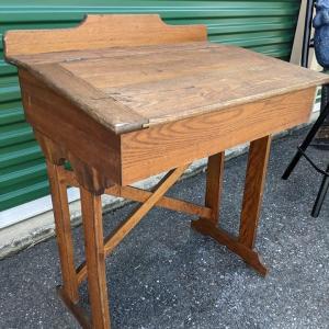 Photo of Antique Solid Wood Slant Flip Top School Desk