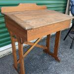 Antique Solid Wood Slant Flip Top School Desk