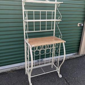 Photo of White/Cream Color Metal Bakers Rack Wine Holder