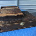 Antique Wood Tabletop Store Cash Drawer/Sales Desk