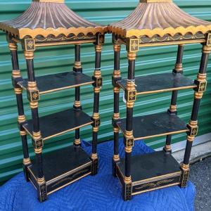 Photo of Pair of Black and Gold Oriental Motif Hangings/Display Racks