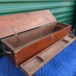 Antique Wood Workman's Hinged and Locking Tool Chest/Box Original Wood Interior