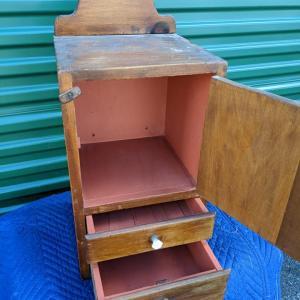 Photo of Vintage 2 Drawer Hanging Wood Wall Shelf Cabinet