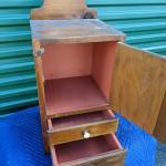 Vintage 2 Drawer Hanging Wood Wall Shelf Cabinet