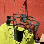 8 Cavity Large Candle/Jar Candle/Wine Bottle Holder Industrial Chic Chandelier