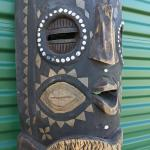Solid Wood African Tribal Hand Carved Hand Painted Mask/Idol