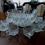 Heavy Glass Punch Bowl Set