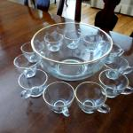 Beautiful Etched Glass Gold Trimmed Punch Bowl Set