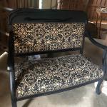 Black Vintage Straw Seat Loveseat Bench