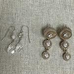Set of Two Crystal Dangling Silver Earrings