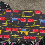 10 Cloth placemats, homemade, Paris Eiffel tower on one side, trains on the othe