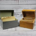 Pair of Vintage Wood and Metal Index Card File Organizers