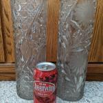 2 antique cut glass vases