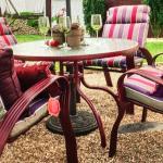 (4) Patio set w/ matching cushions, table, brand new solar light umbrella, stand