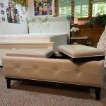 Flip top grey storage bench