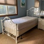 twin metal bed, white