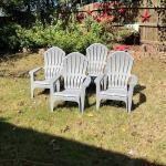 """Outdoor"" Set of 4 Grey Plastic Adirondack Chairs"