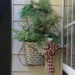 Pair of Galvanized Hanging Wall Planters with Artificial Plants