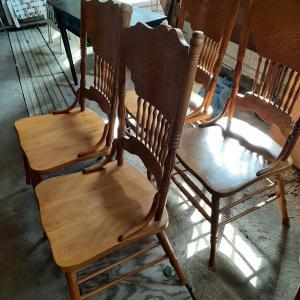 Photo of Set 4 oak pressed back chairs