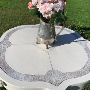 Photo of Antique 1900 victorian brass claw feet Cloverleaf parlor Side table
