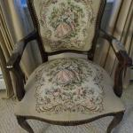 Vintage French Louis XV Style Floral Tapestry Chair Chateau D'AX