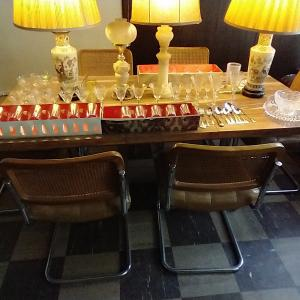 Photo of Dining table and 6 cane backed chairs.