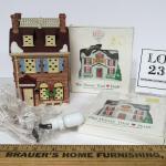 Vintage Dept 56 Disney Village House With Light and 2 Dept 56 House Plastic Orna