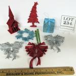 Fun Lot of Colorful Plastic Glitter Christmas Ornaments