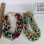 2 Vintage Strands of Mini Glass Ornaments, Read Description