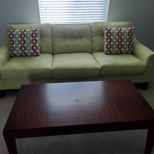 Photo of Queen Size Sofa, Green, with tables and armless chairs
