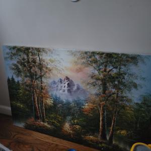 Photo of Frameless painting.
