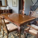 Dining table, pads, 2 leaves, 6 chairs