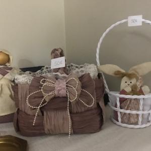 Photo of WOMAN WITH EGG BASKET/BASKET/BUNNY IN CARRIER