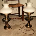 Pair Brass Lamps Milk Glass Shades