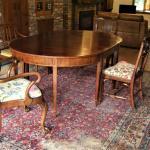 DINING TABLE American Walnut Inlay & Veneer Hepplewhite Leg Old Vintage Antique