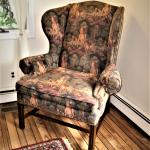 Wingback Arm CHAIR Upholstered Brass Tacks English Hunt Horses Dogs Tapestry