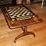 Antique GAME TABLE Cribbage Checkers Chess Ebony Bone Inlaid Wood