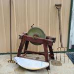 Lot 443: Antique Grinding Wheel and Tools