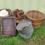 Lot 455: Farm Finds: Galvanized Pails, Glass Front Wood Case, Produce Baskets