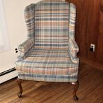 Wingback Arm Chair Pastel Plaid Upholstery Shell Carved Wood Legs Vintage