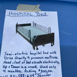 Photo of 2 dining tables, semi electric  hospital bed,  Satellite dish