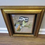 """Framed Needlework Owl 13 1/2"""" x 16"""""""